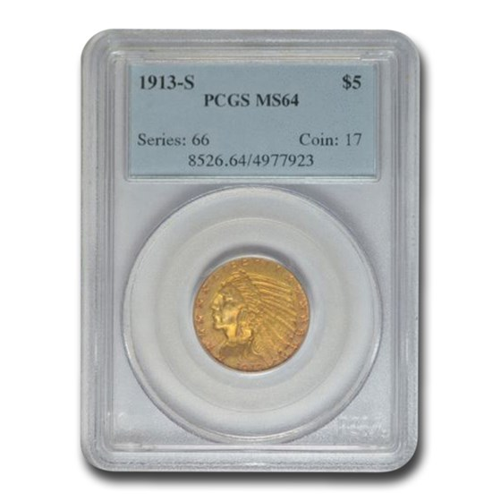 1913-S $5 Indian Gold Half Eagle MS-64 PCGS