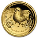 2017 Australia 1 oz Gold Lunar Rooster Proof (HR, Box & COA)