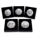 2016-P 5-Coin 5 oz Silver Burnished ATB Set (w/Box & COA)
