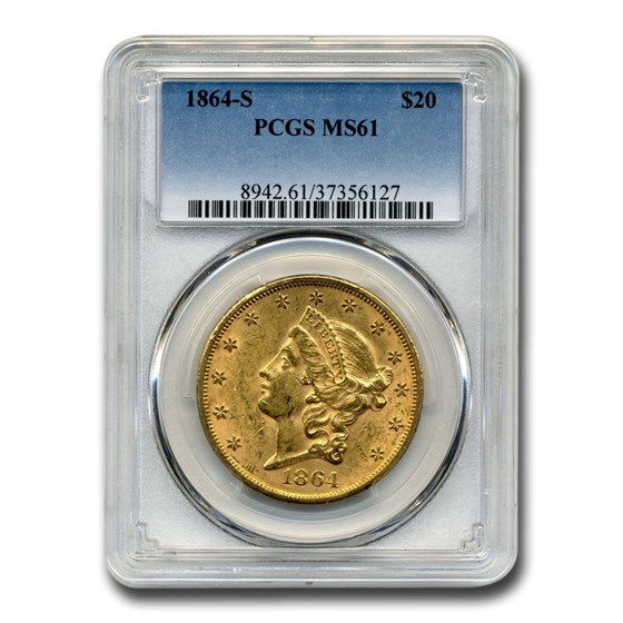 1864-S $20 Liberty Gold Double Eagle MS-61 PCGS