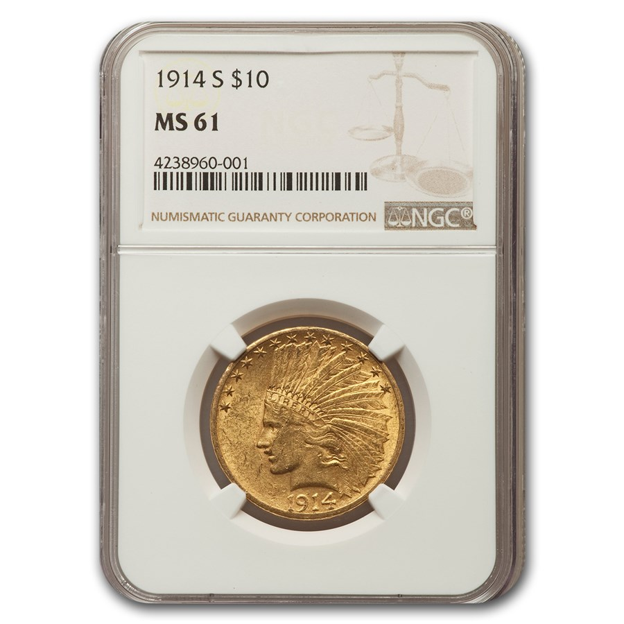 1914-S $10 Indian Gold Eagle MS-61 NGC