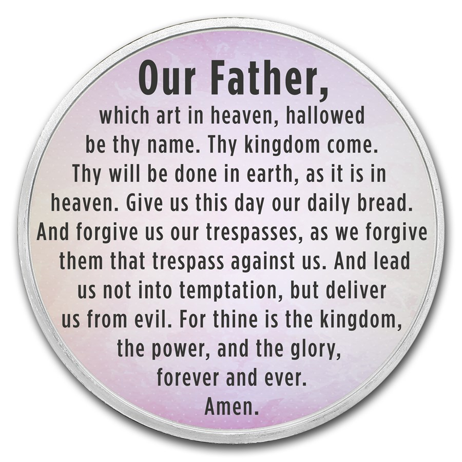 1 oz Silver Colorized Round - APMEX (The Lord's Prayer, Lavender)