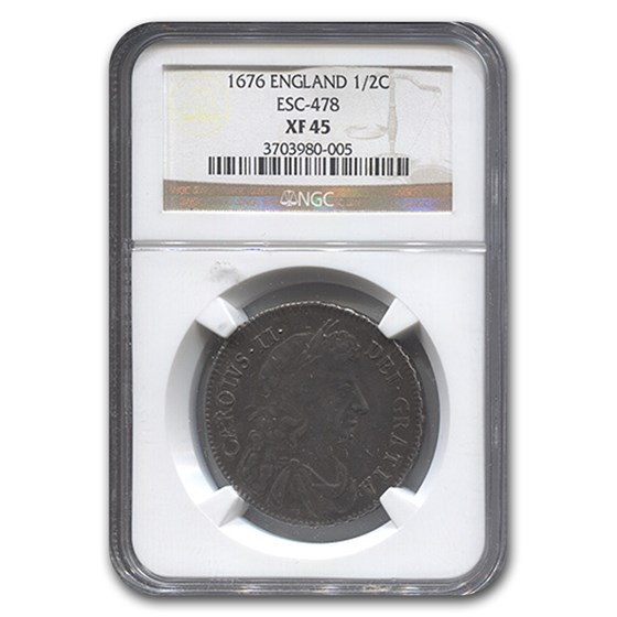 1676 Great Britain Half Crown Charles II XF-45 NGC