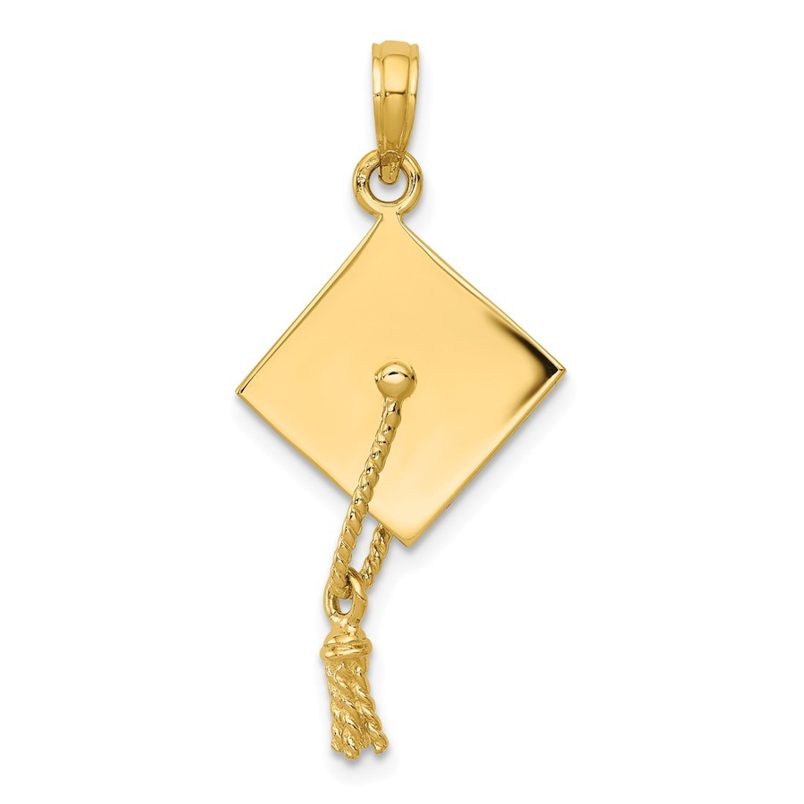 14k Gold Solid Polished 3-Dimensional Graduation Cap Pendant