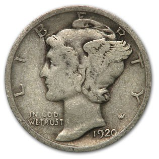 1920 Mercury Dime Good/VF