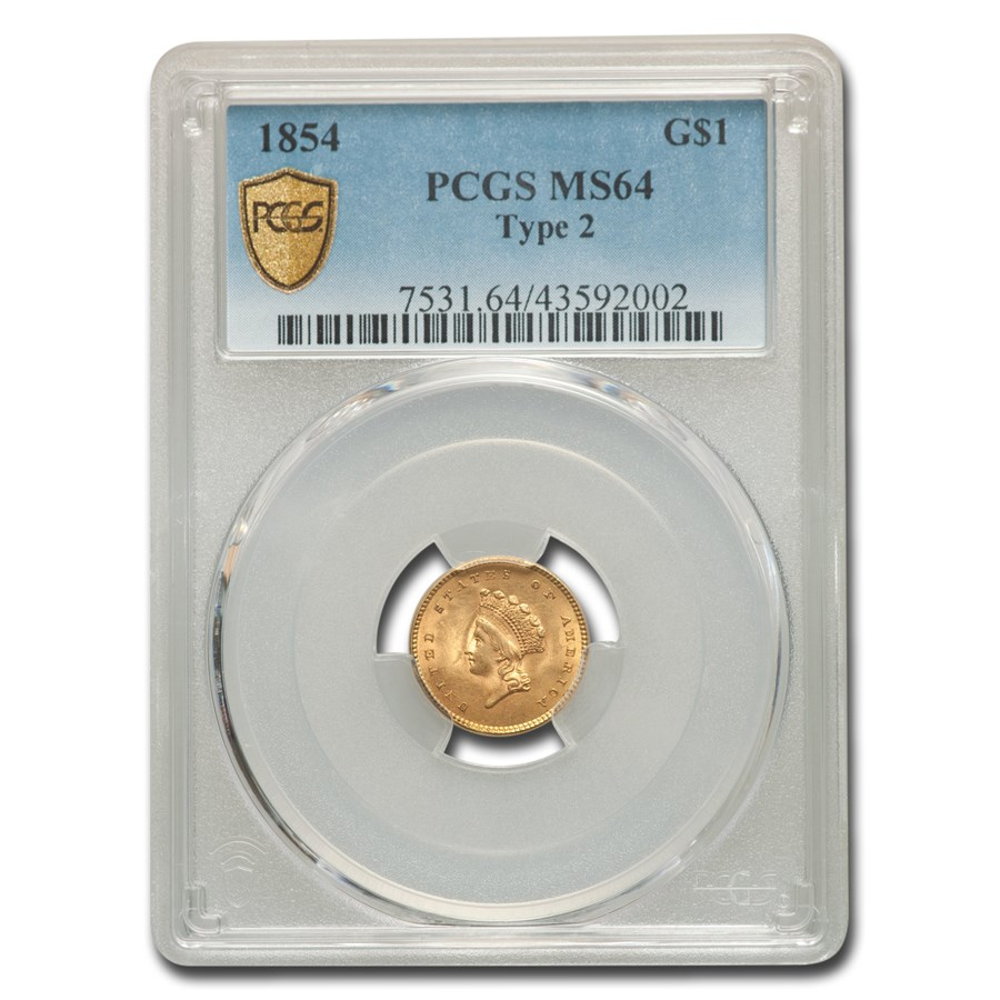 1854 $1 Indian Head Gold Type-II MS-64 PCGS