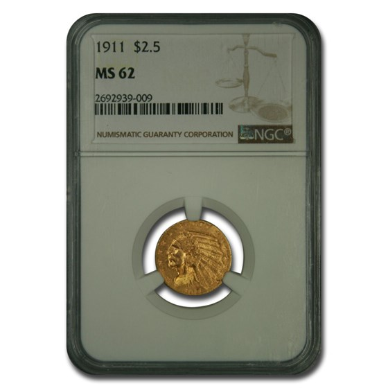 1911 $2.50 Indian Gold Quarter Eagle MS-62 NGC