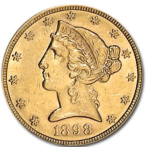 1898-S $5 Liberty Gold Half Eagle AU