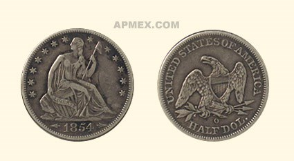 1854-O Liberty Seated Half Dollar XF (Details)