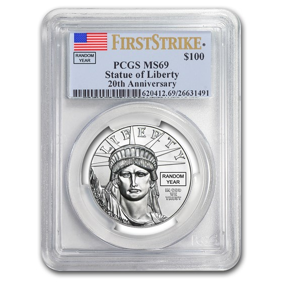 1 oz Platinum American Eagle MS-69 PCGS (Random Year)