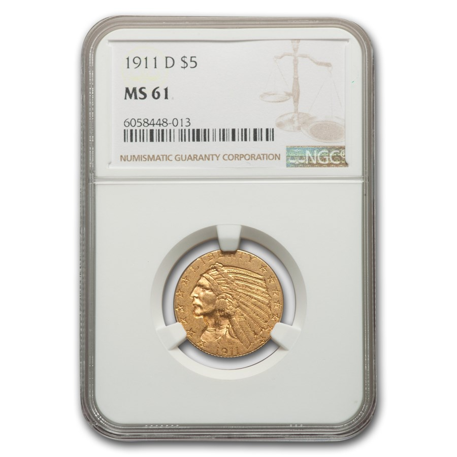 1911-D $5 Indian Gold Half Eagle MS-61 NGC