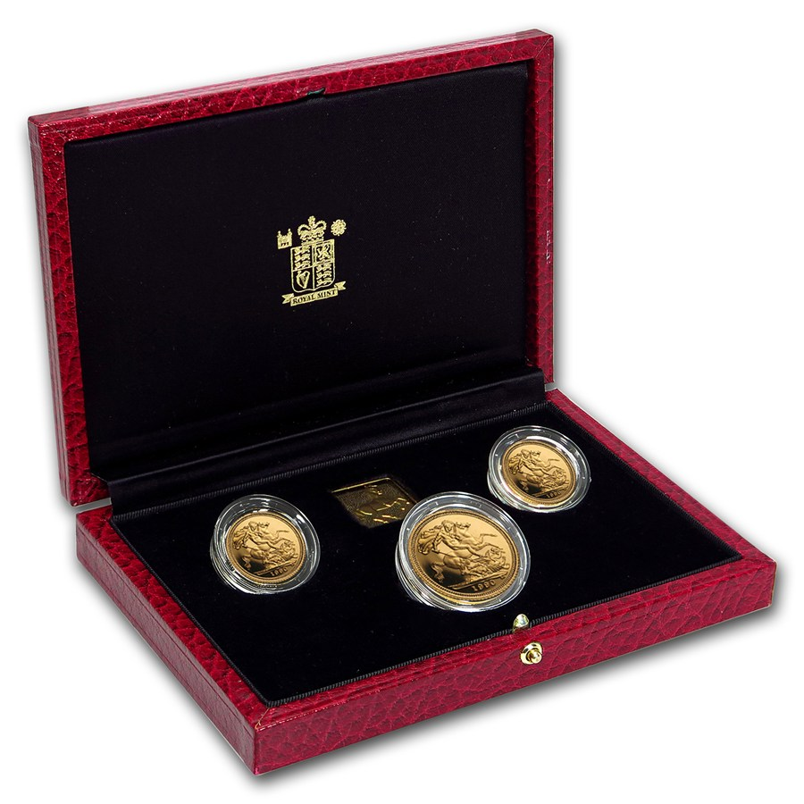1990 Great Britain 3-Coin Gold Sovereign Proof Set