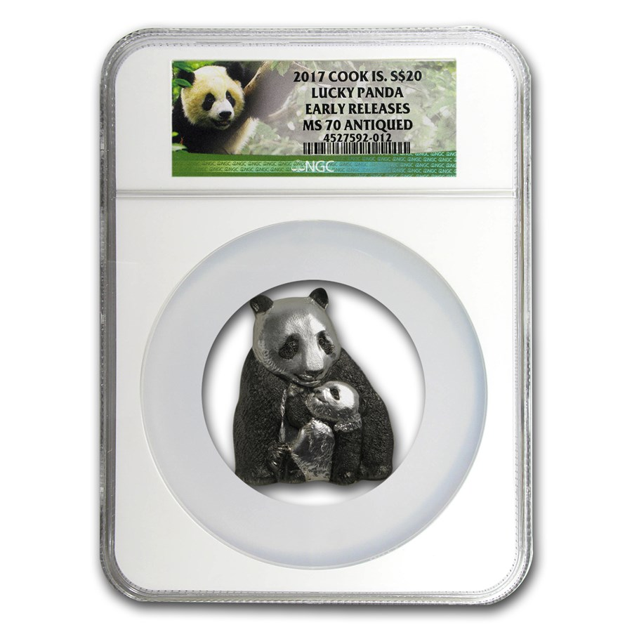 2017 Cook Islands Silver Antique Finish Lucky Panda MS-70 NGC ER