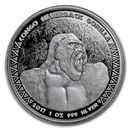 2017 Republic of Congo 1 oz Silver Silverback Gorilla (Prooflike)