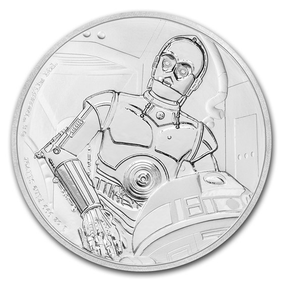 2017 Niue 1 oz Silver $2 Star Wars C-3PO Proof (w/Box & COA)