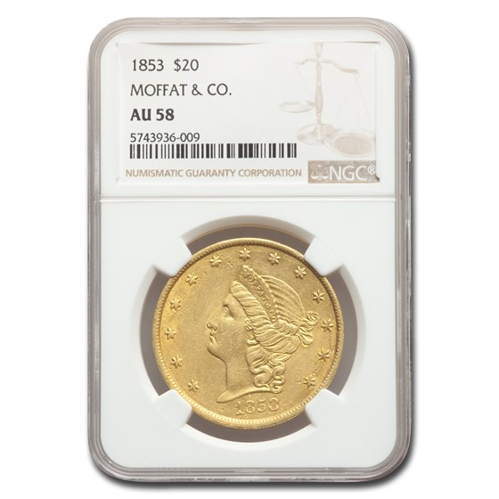 1853 $20 Moffat & Co. Liberty Gold Double Eagle AU-58 NGC
