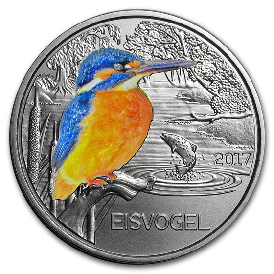 2017 Austria Cupro-Nickel €3 Colorful Creatures (Kingfisher)