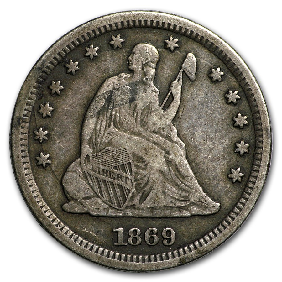 1869-S Liberty Seated Quarter VF