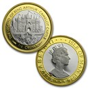 1996 Isle of Man 2-Coin 1/4 oz Camelot Castle Bi-Metallic Set