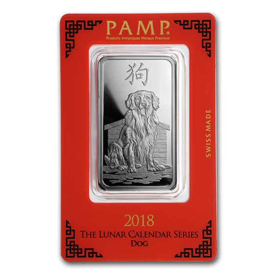 1 oz Silver Bar - PAMP Suisse (Year of the Dog)