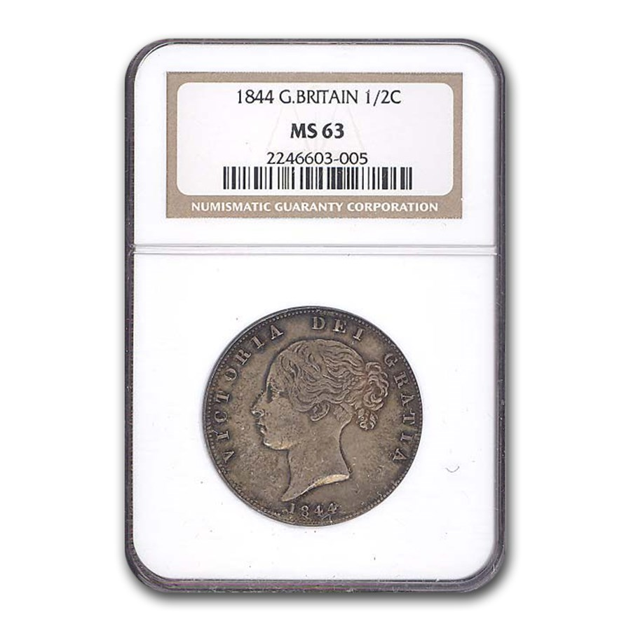 1844 Great Britain Halfcrown MS 63-NGC