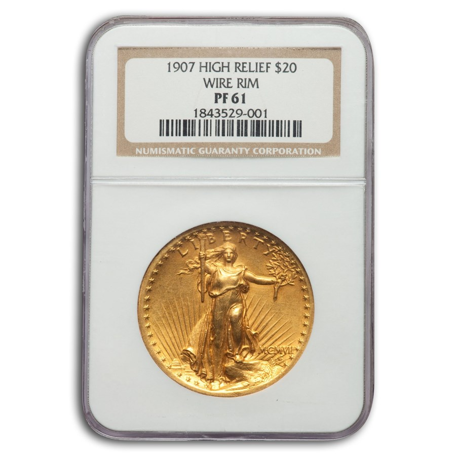 1907 $20 Saint-Gaudens Gold High Relief Wire Rim PF-61 NGC