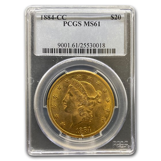 1884-CC $20 Liberty Gold Double Eagle MS-61 PCGS