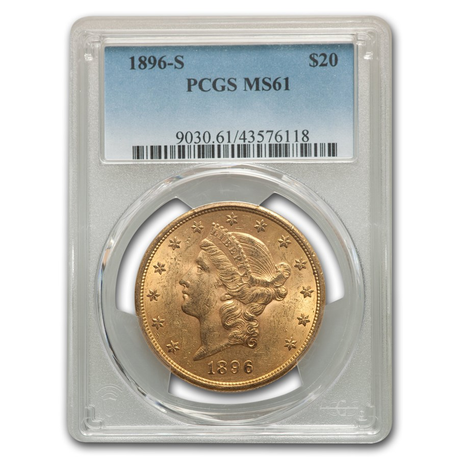1896-S $20 Liberty Gold Double Eagle MS-61 PCGS