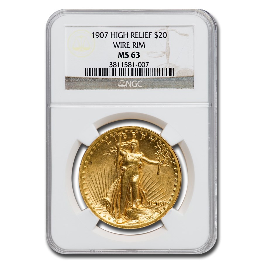 1907 $20 Saint-Gaudens Gold High Relief Wire Rim MS-63 NGC