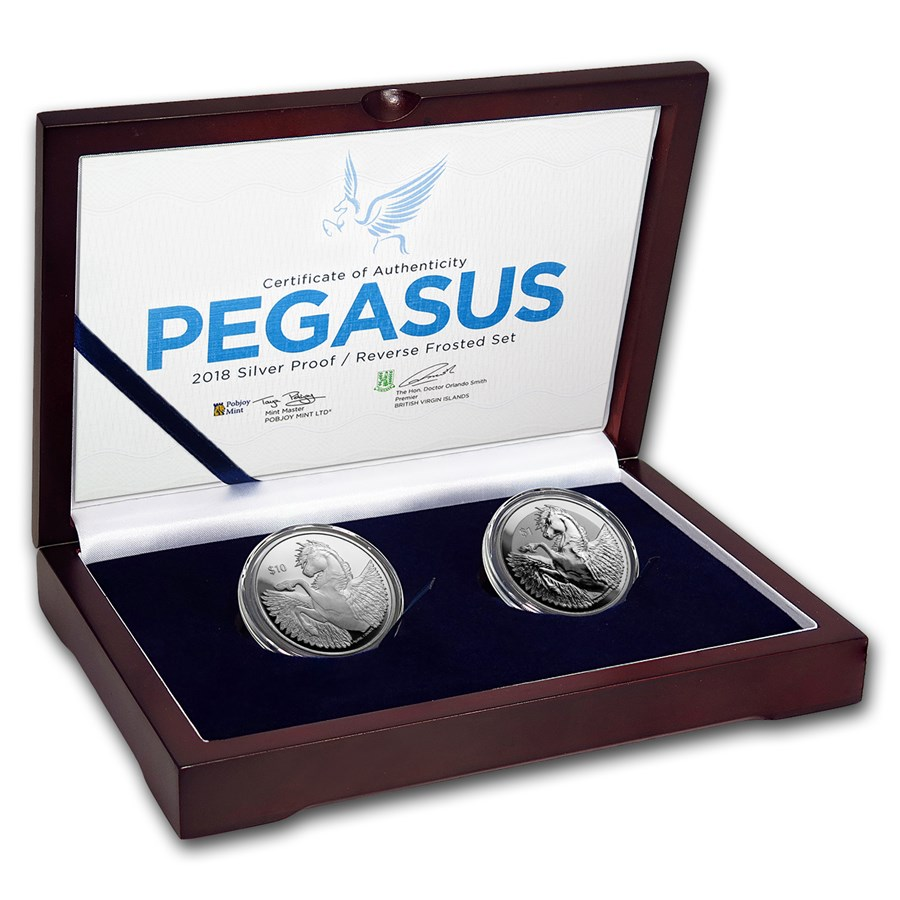 2018 BVI 2-Coin Silver Pegasus Proof/Reverse Frosted Set