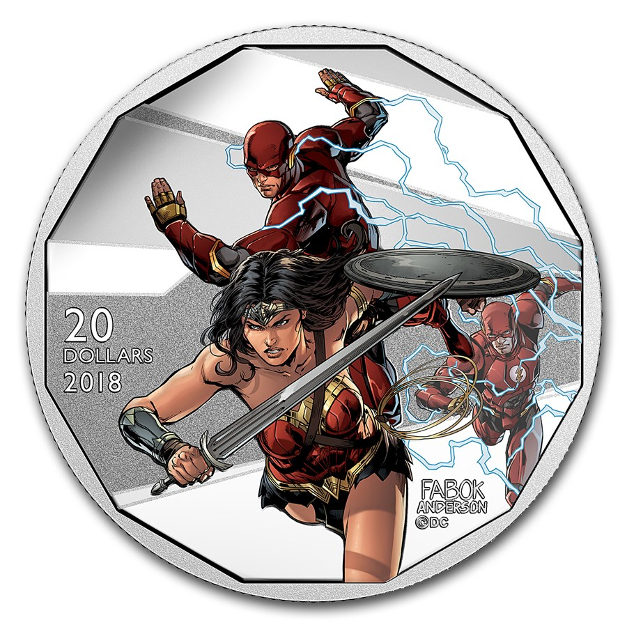 2018 Canada 1 oz Ag $20 The Justice League™: Flash & Wonder Woman