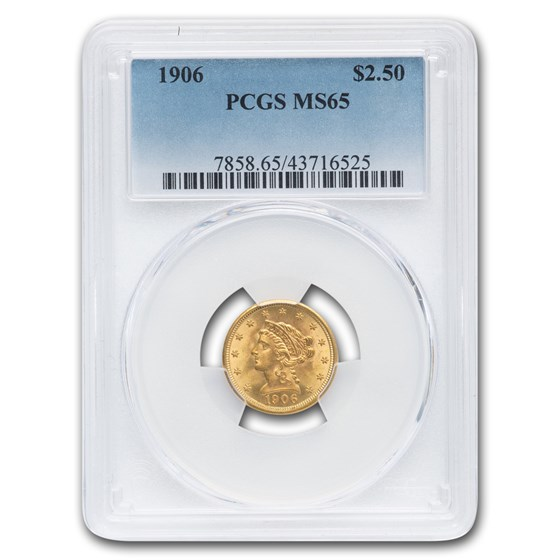1906 $2.50 Liberty Gold Quarter Eagle MS-65 PCGS