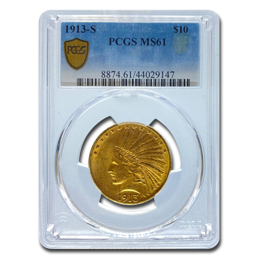 1913-S $10 Indian Gold Eagle MS-61 PCGS