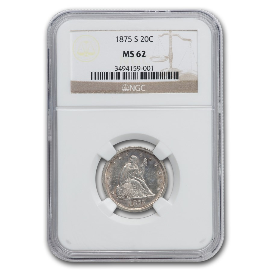 1875-S Twenty Cent Piece MS-62 NGC