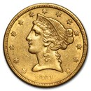 1839-1866 $5 Liberty Gold Half Eagle No Motto Type (Cleaned)