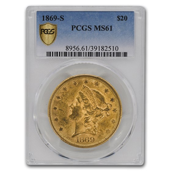 1869-S $20 Liberty Gold Double Eagle MS-61 PCGS