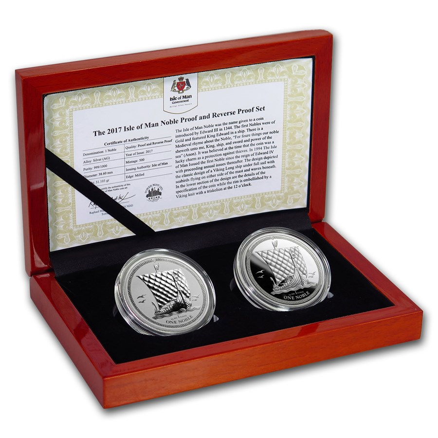 2017 Isle of Man 2-Coin Silver Noble Proof/Reverse Proof Set