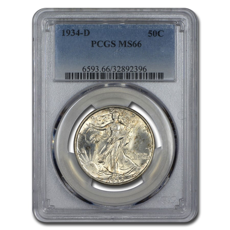 1934-D Walking Liberty Half Dollar MS-66 PCGS