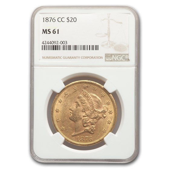 1876-CC $20 Liberty Gold Double Eagle MS-61 NGC