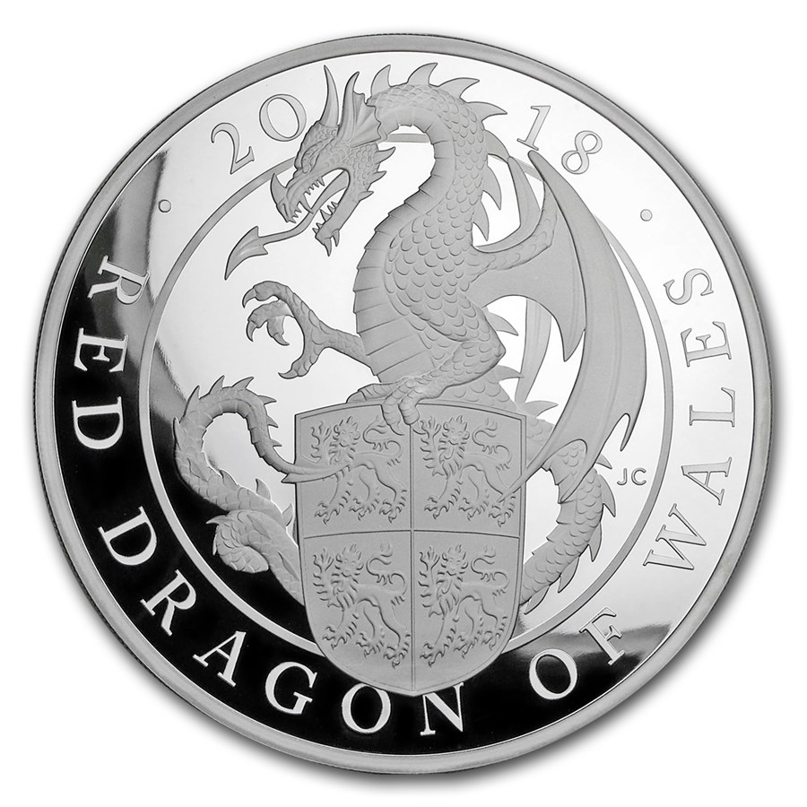 2018 GB Proof 1 kilo Silver Queen's Beasts Dragon (w/Box & COA)