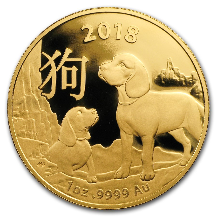 2018 Australia 1 oz Gold Lunar Year of the Dog BU (RAM)