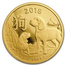 2018 Australia 1/4 oz Gold Lunar Year of the Dog BU (RAM)