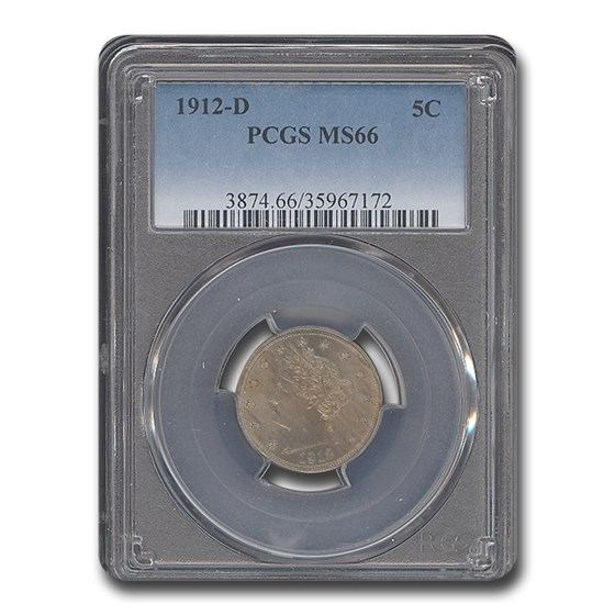 1912-D Liberty Head V Nickel MS-66 PCGS
