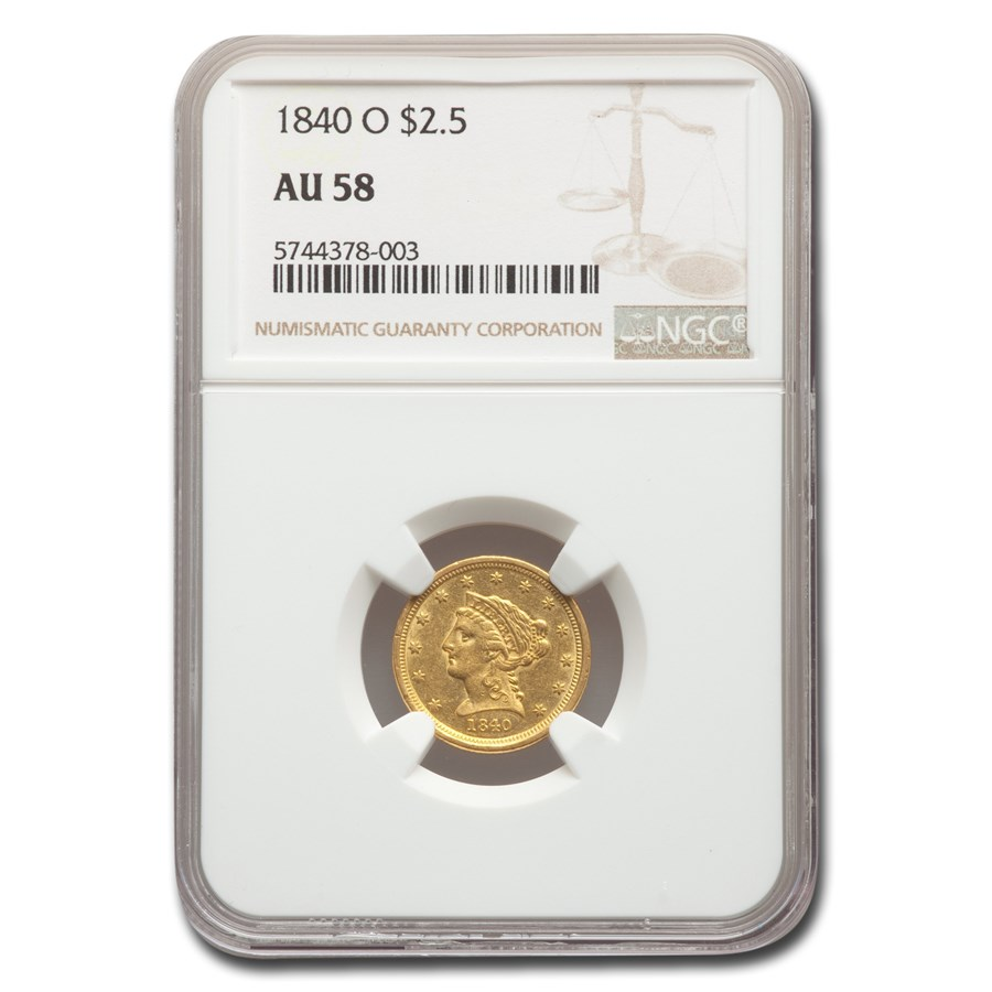 1840-O $2.50 Liberty Gold Quarter Eagle AU-58 NGC