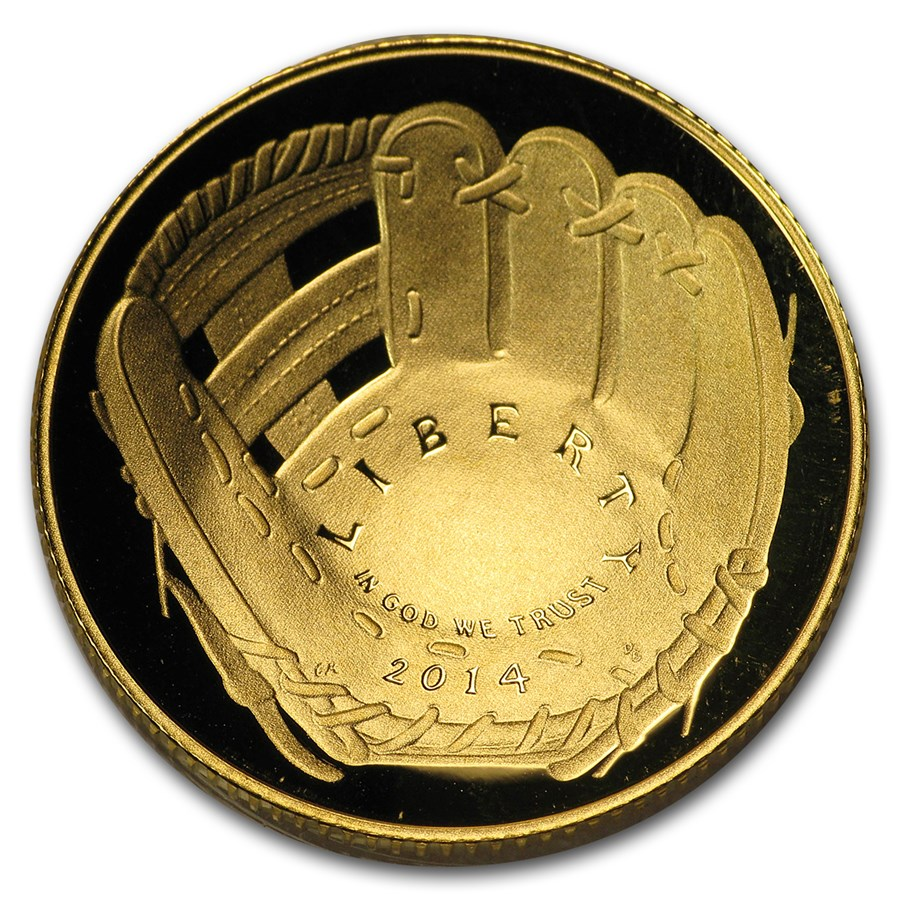 2014-W Gold $5 Commem Baseball HOF Proof (Capsule Only)