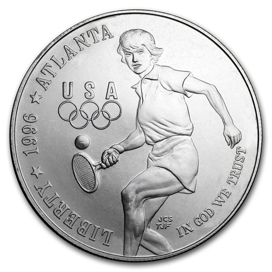 1996-D Olympic Tennis $1 Silver Commem BU (Capsule Only)