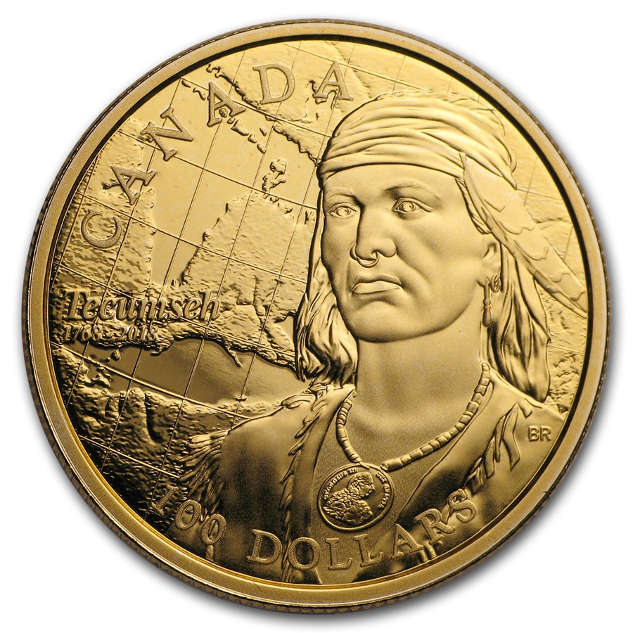 2018 Canada Gold $100 250th Anniversary of the Birth of Tecumseh