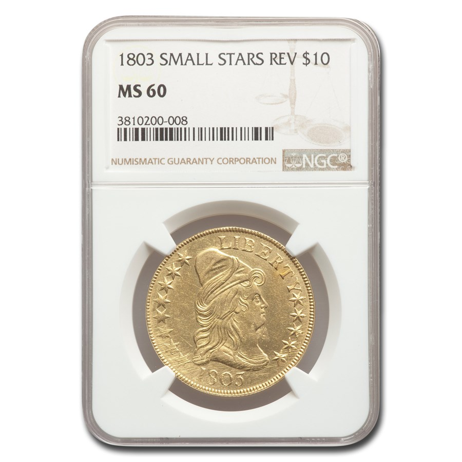 1803 $10 Gold Eagle Capped Bust MS-60 NGC (Small Stars Rev)