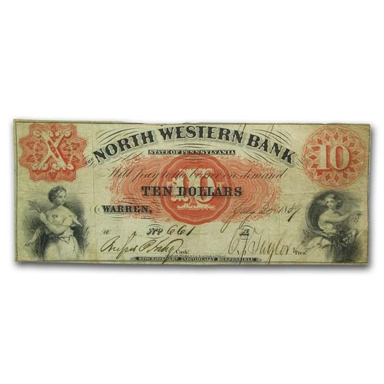 1859 North Western Bank Warren, PA $10 VF