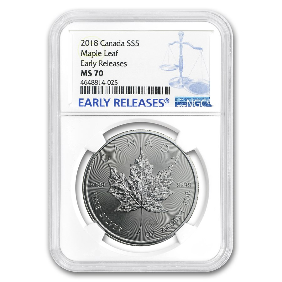 2018 Canada 1 oz Silver Maple Leaf MS-70 NGC (Early Release)